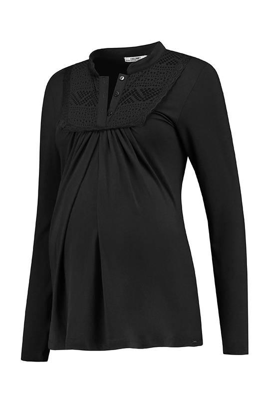 schwarzes langarm Umstandsshirt mit Stillfunktion BIO
