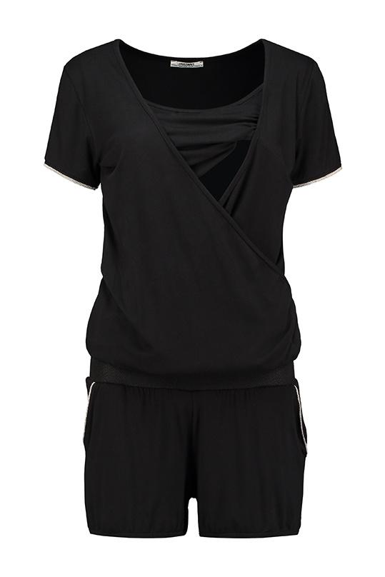 kurzer Jumpsuit schwarz silber