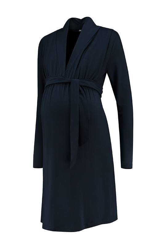 dunkelblaues Umstandskleid mit Stillfunktion
