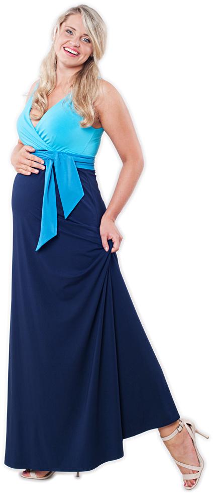 Maxi Umstandskleid Stillkleid 3farbig blau