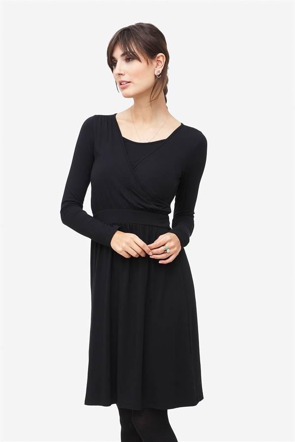schwarzes Stillkleid Umstandskleid aus Bambusfaser langarm