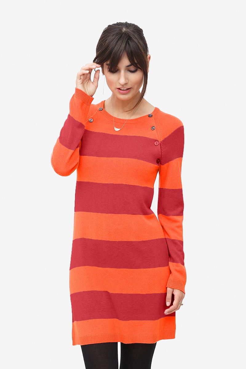 Umstandskleid Stillkleid Wolle orange/rot