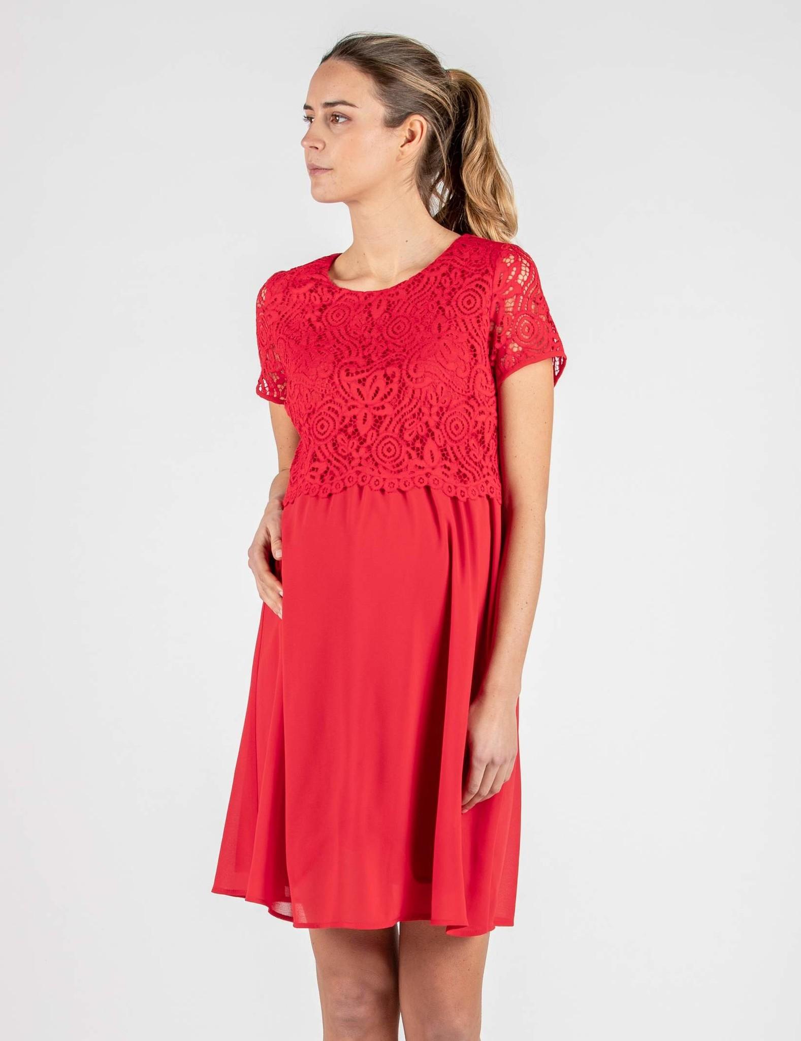 kurzärmliges Umstandskleid Stillkleid Spitze rot