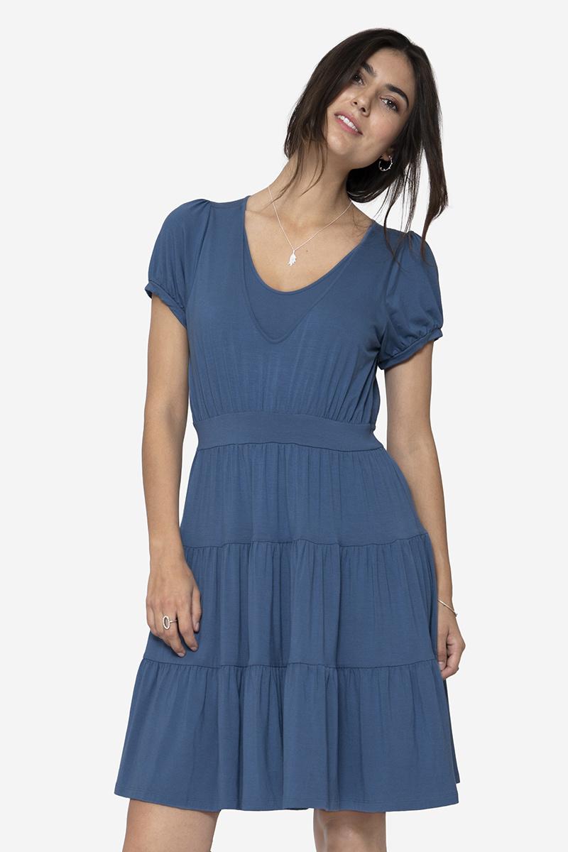 Stillkleid Umstandskleid blau Volant Bambus