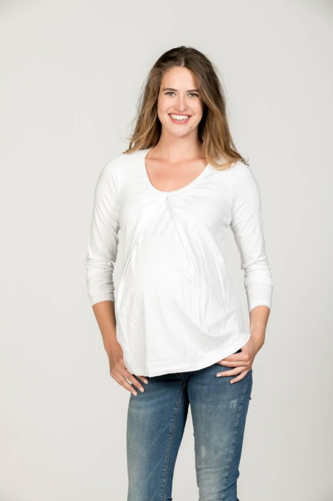 weißes langarm Basic  Umstandsshirt mit Stillfunktion