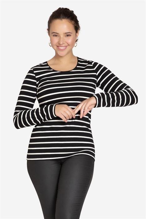 Umstandsshirt Stillshirt schwarz gestreift
