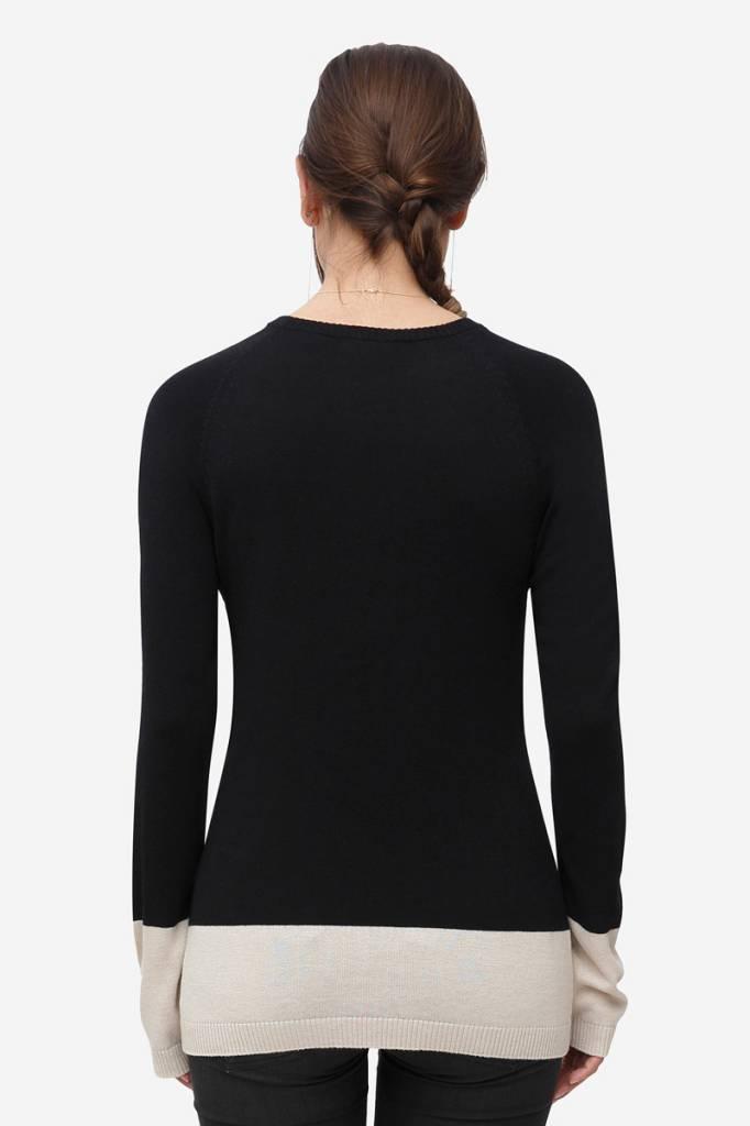 schwarzer Stillpulli Wolle