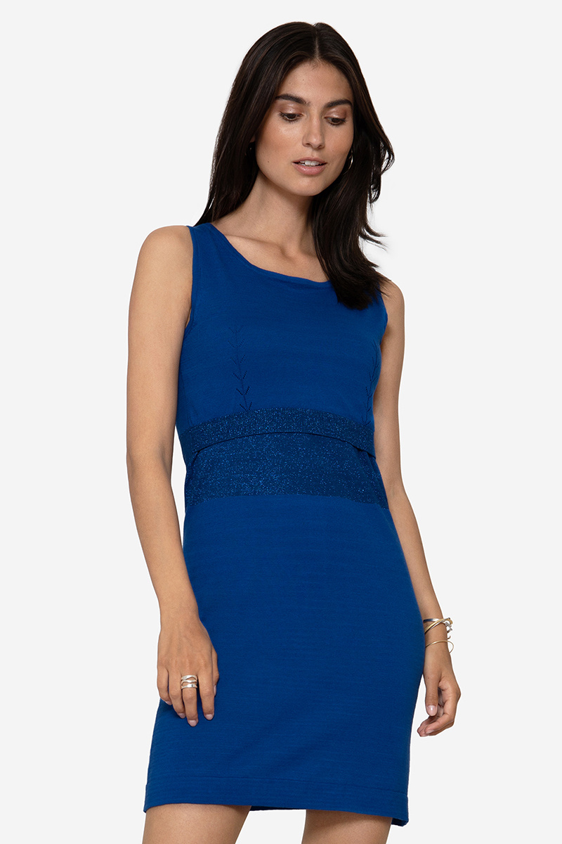 Blaues Umstandskleid Stillkleid mit Glitzer