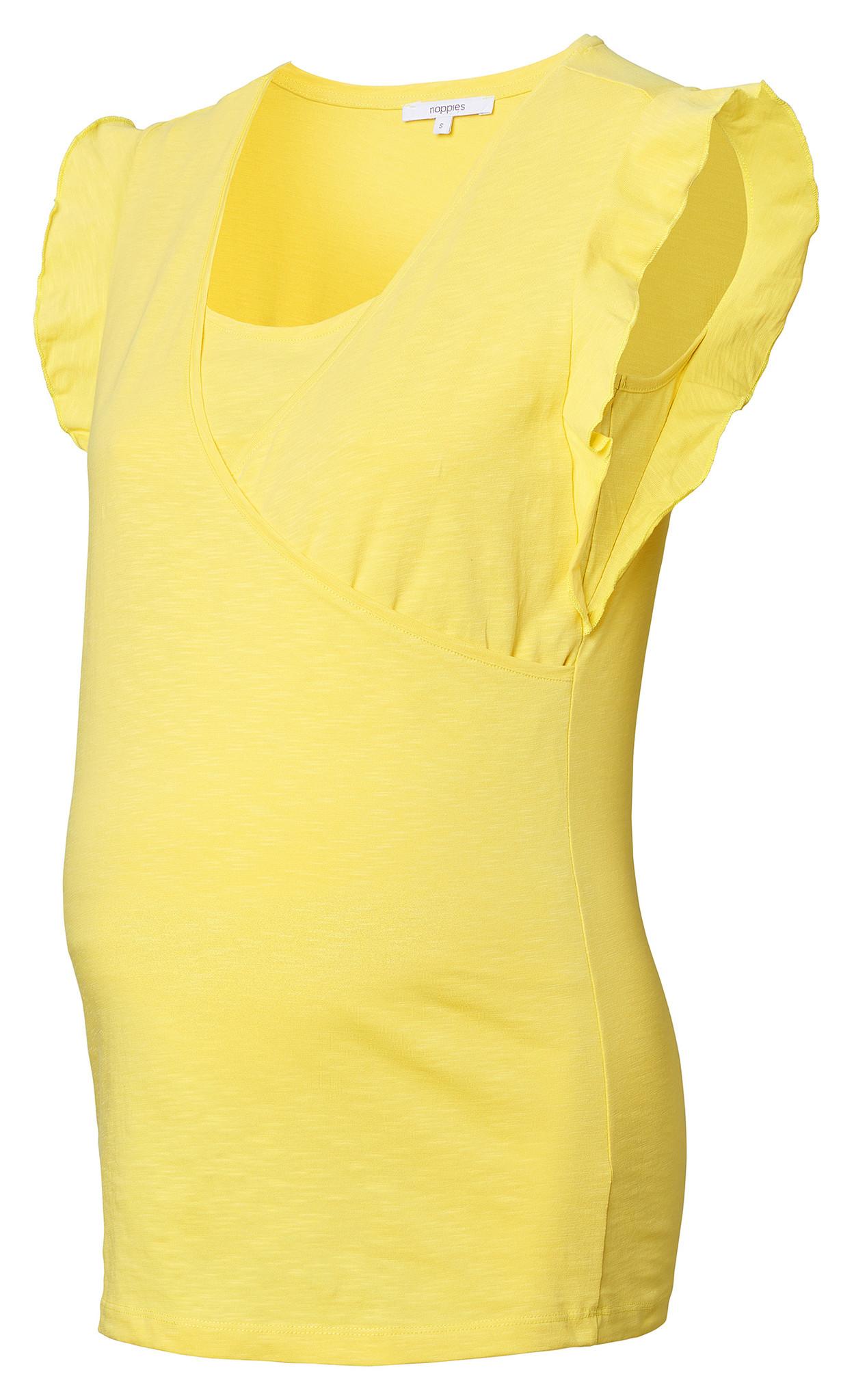 gelbes Umstands- und Stillshirt Rüschenärmel